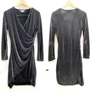 Amaryllis Silver Sparkle Glam Ruched Gina Dress